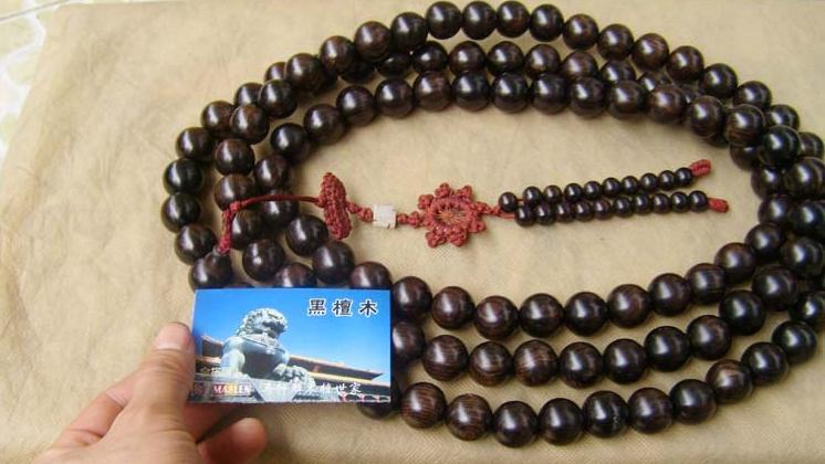 "27"" Natural Black Sandalwood 108 Prayer Beads Mala"