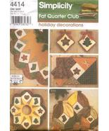 Simplicity 4414 Fat Quarter Ornaments Tree Skirt ++ Christmas Decor Pattern - $5.99