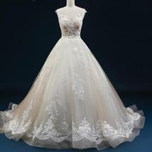 Court Train A-Line Applique Beaded Sheer Lace Tulle Wedding Gown