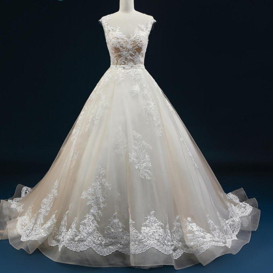 Ne wedding dresses 2019 court train a line applique beaded sheer lace wedding gown tulle vestido