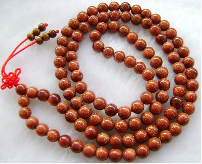 "40"" Goldstone Gemstone Mediation 108 Prayer Beads Mala"