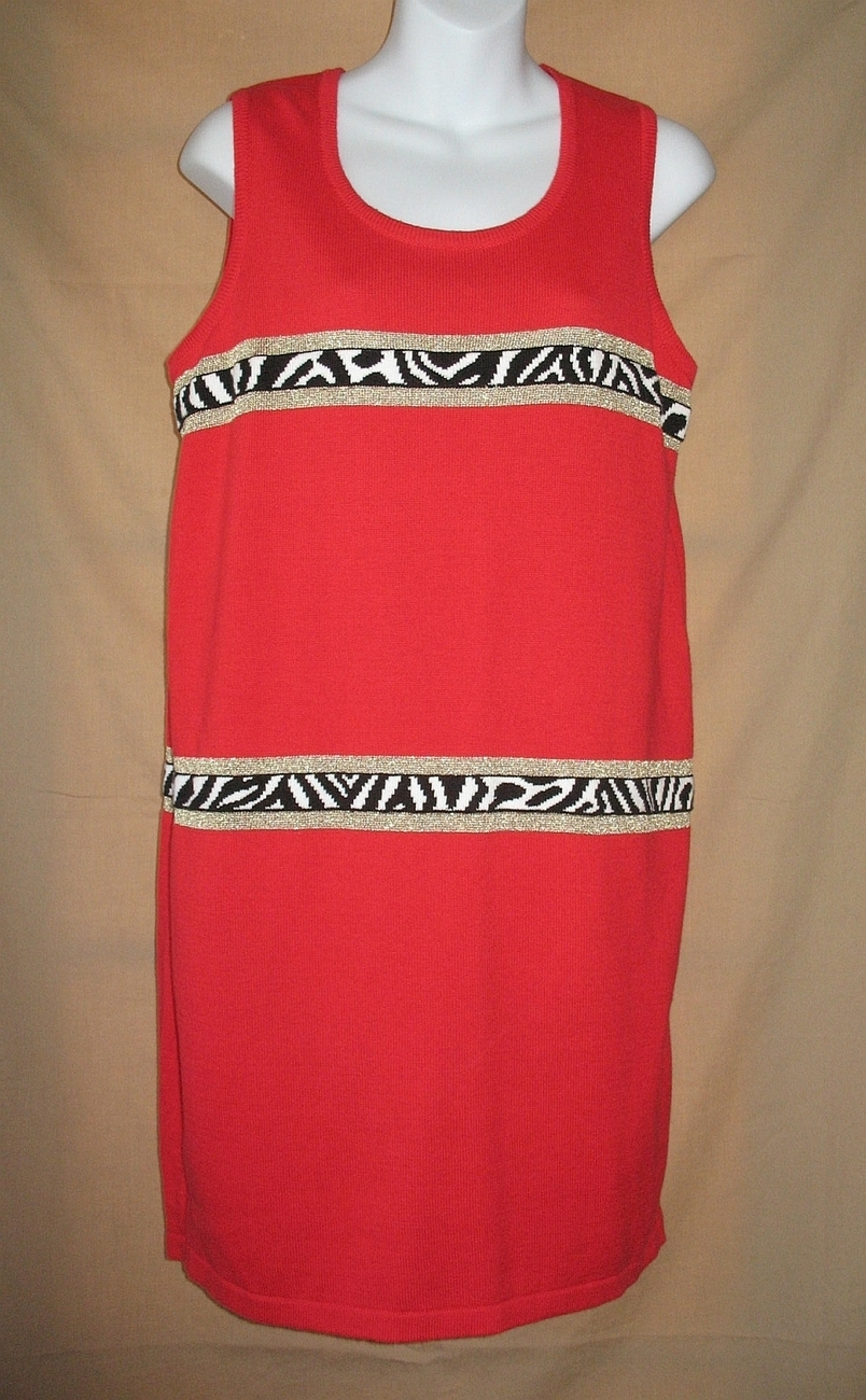 M New Bloomingdales Dress Jumper Red Animal Accents  Another Thyme