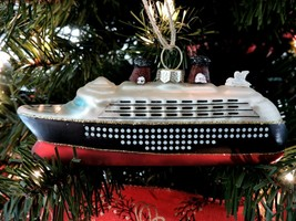 Pottery Barn Cruise Ship Christmas Ornament Glass Hand Painted Glitter Travel - $20.39