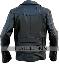 NWT Black Brando Premium Genuine Leather Jacket w/ Plain Lining image 2