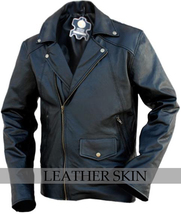 NWT Black Brando Premium Genuine Leather Jacket w/ Plain Lining image 1