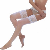 Ladies Sexy 10 Denier Thigh High Over the Knee Deep Lace Top Stockings w... - $6.64