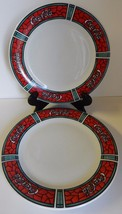 "2 Coca Cola Gibson Stained Glass White Red Dinner Plates 10.5"" 1996 Coll... - $29.69"