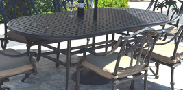 7 piece patio dining set cast aluminum 6 person Tree chairs swivels Nassau table image 2