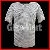 CHAINMAIL Shirt Zinc Plated, BUTTED Chain Mail HAUBERK Medieval Fancy Sca Armor - $90.00