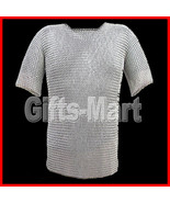 CHAINMAIL Shirt Zinc Plated, BUTTED Chain Mail HAUBERK Medieval Fancy Sc... - $90.00