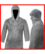 16 GAUGE CHAINMAIL CHAIN MAIL SHIRT+COIF ARMOR LOTR, Medieval Military C... - $90.00