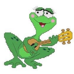 Primary image for Funny Frog Guitar cross stitch chart Cross Stitch Wonders