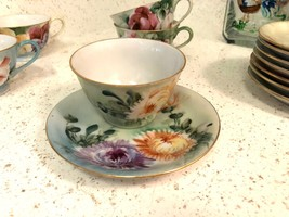 ANTIQUE FLORAL GARDEN PARTY TEA SET 1950'S SIGNED MG CHINA POTTERY CUP P... - $99.00
