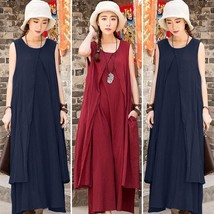 Women Casual Loose Sleeveless Cotton Linen A-Line BOHO MAXI Shirt Dress - $33.66