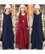 Women Casual Loose Sleeveless Cotton Linen A-Line BOHO MAXI Shirt Dress - $48.66