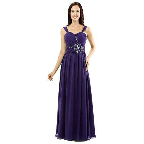 Lemai Women's Beaded Long Chiffon A Line Prom Evening Dresses Plus Size Blue Pur