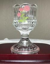 Vintage Fenton Votive Candle Holder Hand Painted Floral October Signed 4... - $13.50