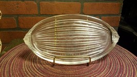 """Pressed Glass Vanity Tray - Frosted Scroll Handles - 9 1/2"""" by 5"""" Vintrage - $8.85"""