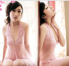 8023 Stunning neck halter dress w lace bust & open back, g-string, FS, fits to s image 1