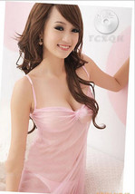 8024 Stunning neck halter dress w low bust, g-string, FS, fits to s/m/l, pink image 1