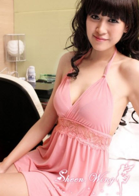 8026 Stunning neck halter lace dress w low bust, g-string, FS, fits to s/m/l, pi