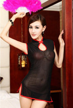 8083 Sexy dare-you-wear sheer net cheongsam, g-string  free size, fit to s/m/l,  image 1