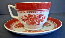 Spode Fitzhugh Red Cup & Saucer Footed London Shape England Vintage Estate W88 - $21.79