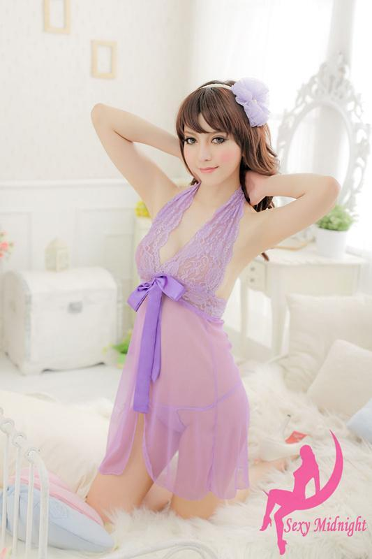 """8144 Stunning & neck hatler baby doll, Free size, fit to size 32-35"""" violet"""
