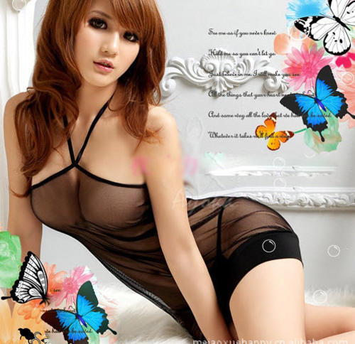 9049 Sexy neck hatler sheer net dress,g-string,Free size, fit to s/m/l,black