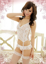 9072 Sexy lace chemsis w lace up side, g-string,free size, fit to s/m/l, white image 1