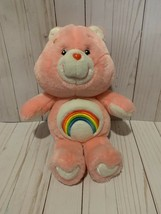 Care Bear Cheer Bear Rainbow Pink Stuffed Bear Plush Carlton Cards - $17.81