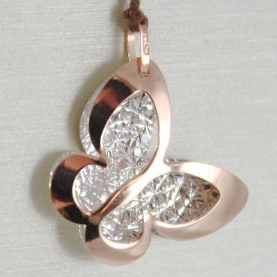 PENDENTIF EN OR BLANC ROSE 750 18K, PAPILLON, DOUBLE COUCHE 2 CM, MADE IN ITALY