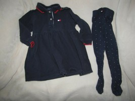 Vintage 90s Tommy Hilfiger Navy Blue Long Sleeve Polo Dress Flag Tights ... - $21.77