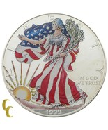1999 Peint Marche Liberty 1 OZ Argent American Eagle W / Boîte & COA - $50.30