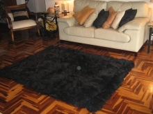 Black alpaca fur carpet, from the Andean of Peru, 80 x 60 cm
