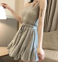 Solid color sexy off-the-shoulder personality unilateral sling skater dress image 12