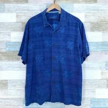 Tommy Bahama Pure Silk Jacquard Camp Shirt Blue Palm Tree Print Pocket M... - $98.99
