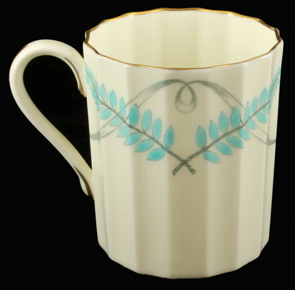 Vintage Royal Worcester Small Demitasse Cup & Saucer Ferncroft Blue Grey