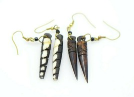 Tibet Brown Beige Bovine Bone Earring Sets Vintage Tribal Boho - $19.79