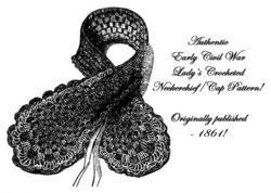 1857 Antebellum Civil War Crochet Morning Cap Collar DIY Victorian Reenactment