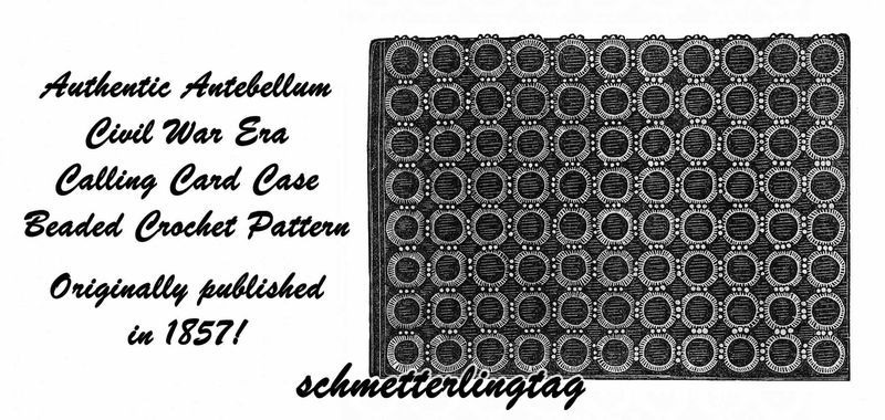 1857 Antebellum Civil War Note Card Case Crochet Pattern DIY Victorian Reenactor