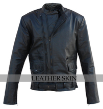 Black Belted Brando Premium Genuine Biker Motorcycle Leather Jacket Duo Zippers - $179.99