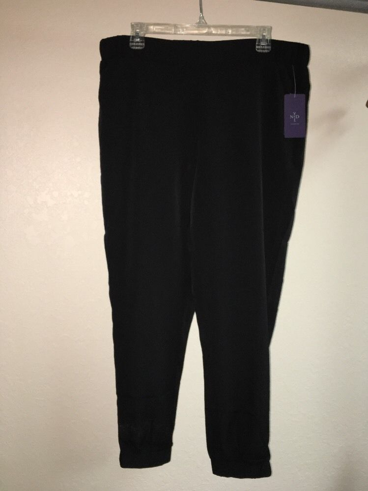 Primary image for NYDJ Black Track Pants Medium Womens S4U0525 NWT
