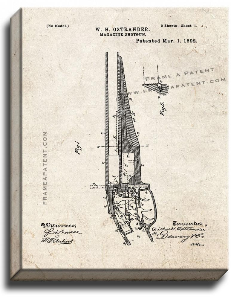 Primary image for Magazine Shotgun Patent Print Old Look on Canvas