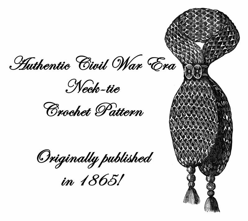 1865 Civil War Neck-tie Necktie Cravat Crochet Pattern DIY Victorian Reenactment