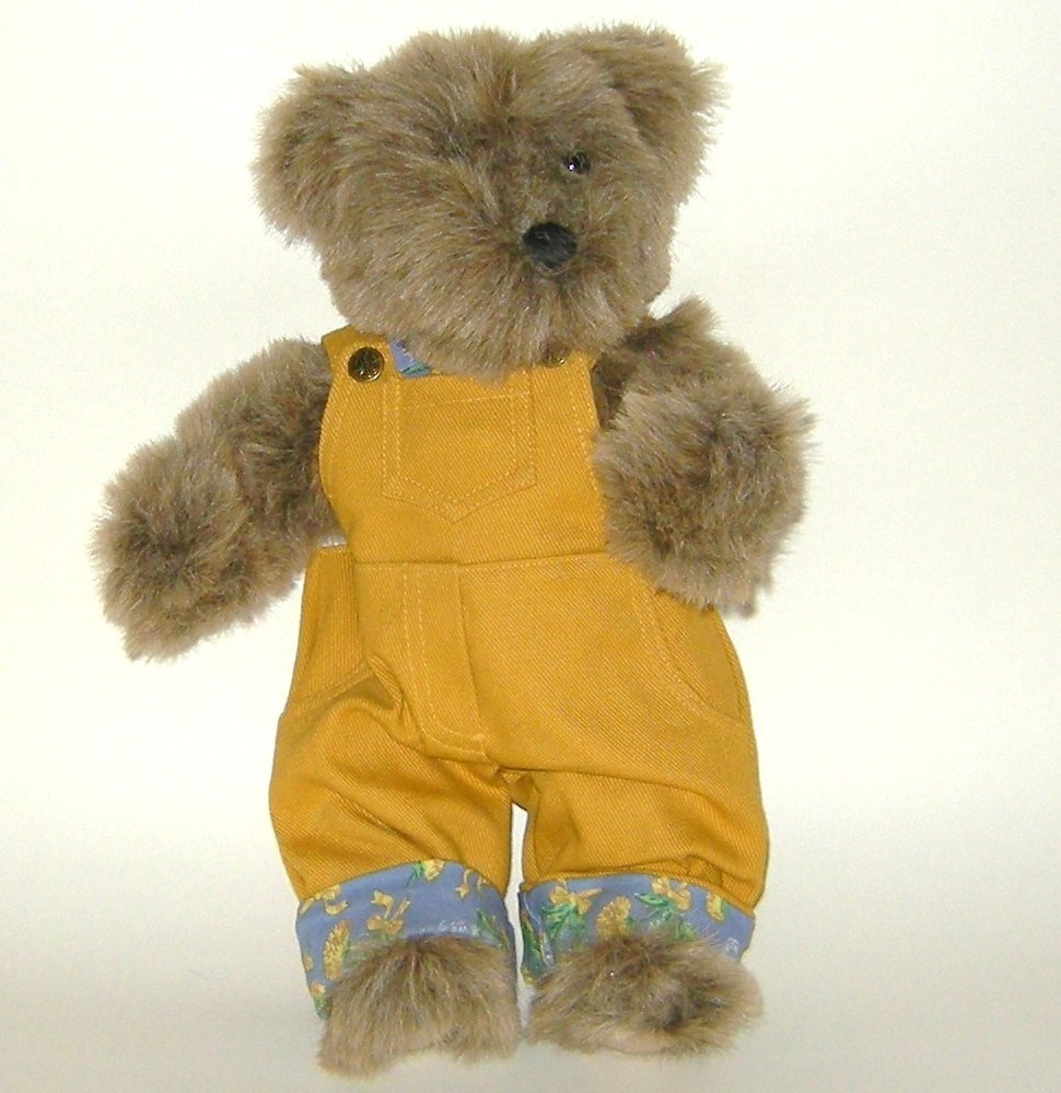 1/2 Price! Gallery Plush Jointed Teddy Bear in Overalls
