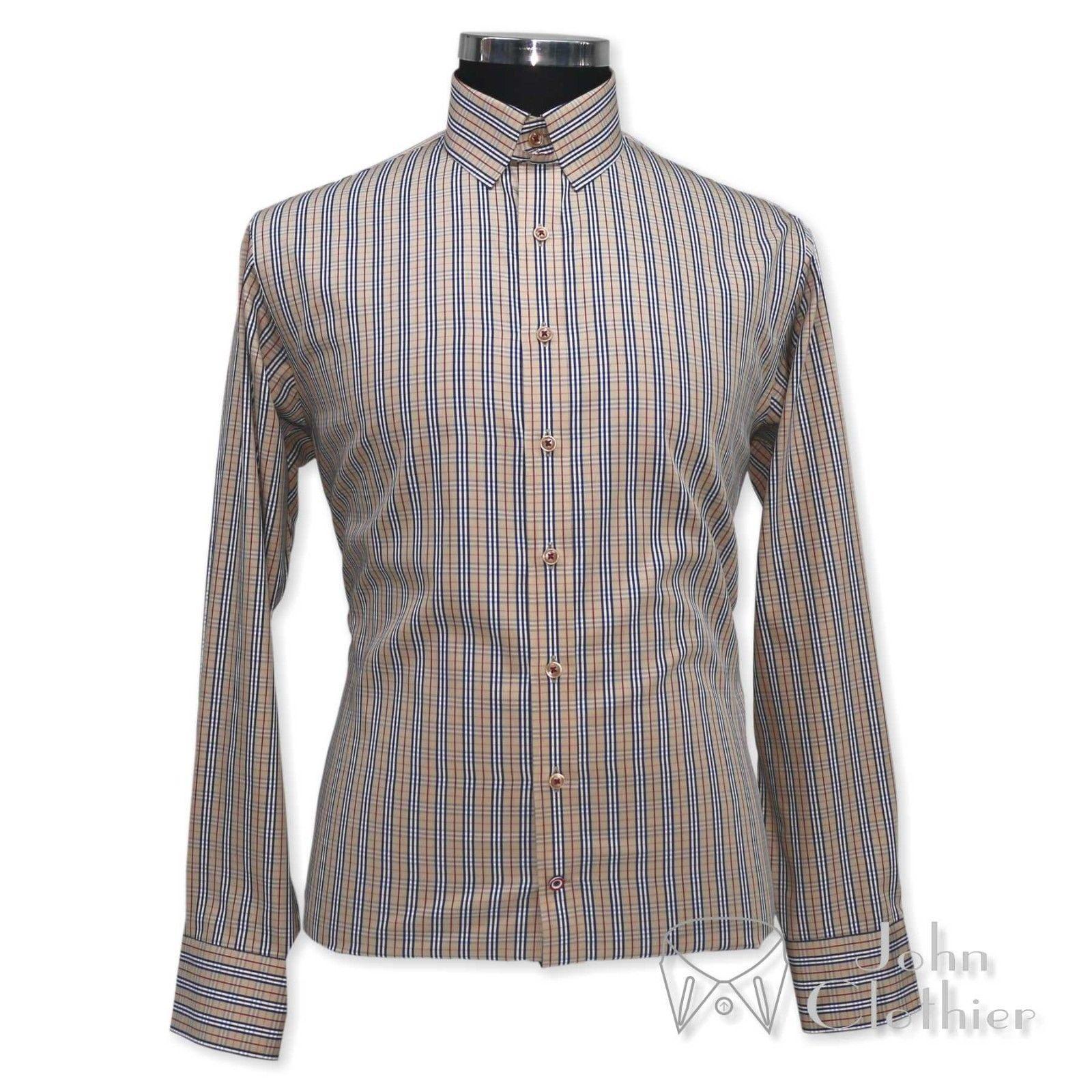 New Mens 100% Cotton shirt Tab collar Brown checks James Bond Loop collar Gents