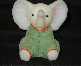 Fenton Art Glass Hand Painted PJ Babies Sitting Elephant With Green Pajamas - $35.00