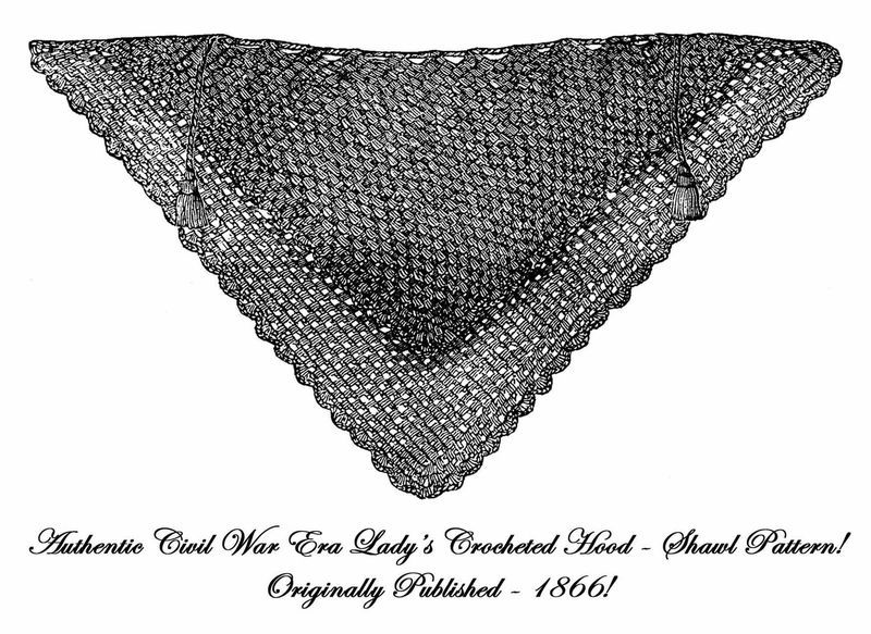 1866 Civil War Shawl Crochet Pattern DIY Victorian Wrap Reenactment Headdress
