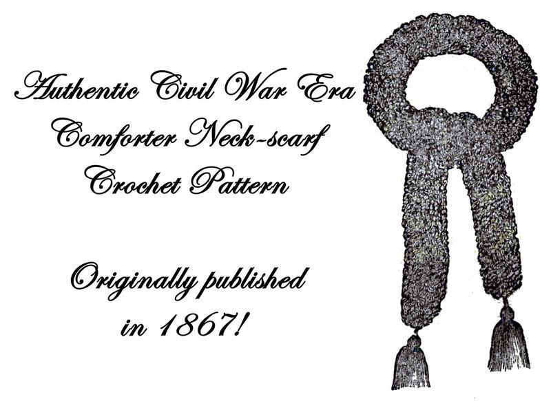 1867 Civil War Scarf Crochet Pattern DIY Victorian Cravat Reenactment Necktie